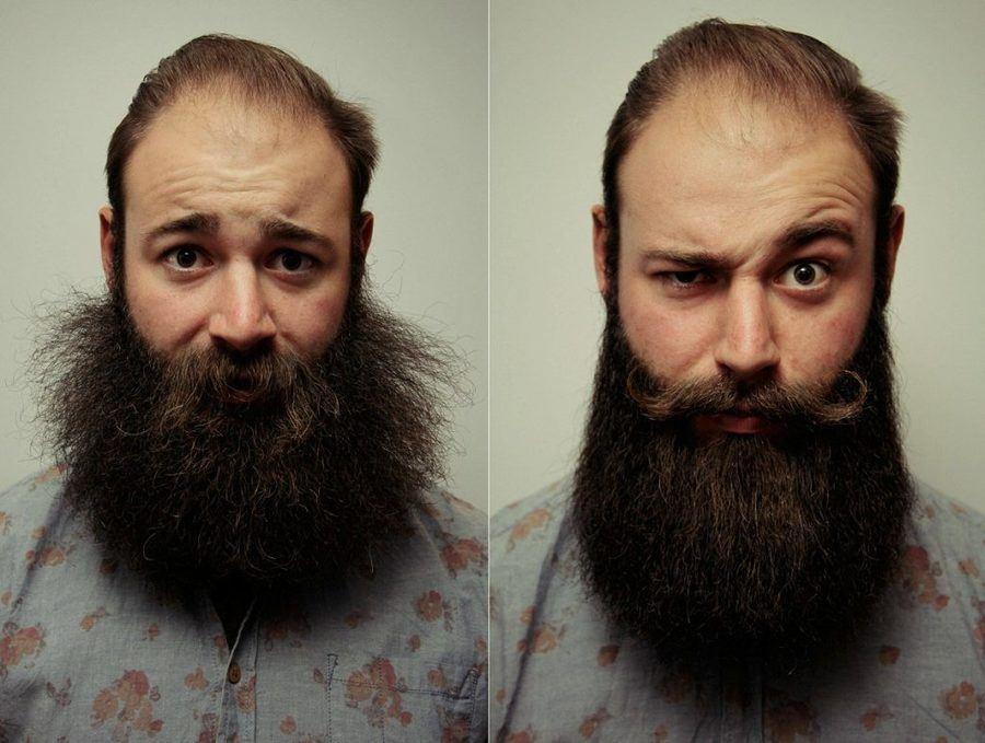Krullende baard recht maken